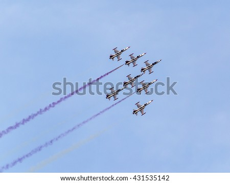 YENIKAPI-ISTANBUL, TURKEY - May 29; The Turkish Stars (Turkish: Turk Yildizlari) are the aerobatic demonstration team of the Turkish Air Force and the national aerobatics team of Turkey.