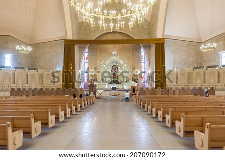 YEREVAN, ARMENIA - JULY 17, 2014: Interior of the Saint Gregory the Illuminator Cathedral, Yerevan. It was completed in 2001
