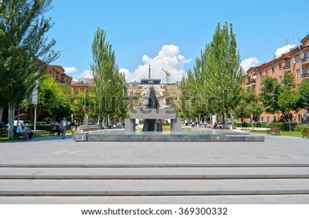 YEREVAN, ARMENIA - JUNE 30, 2015: Modern art statue near the Yerevan Cascade, a giant stairway in Yerevan, Armenia. One of the most important sights in Yerevan completed in 1980