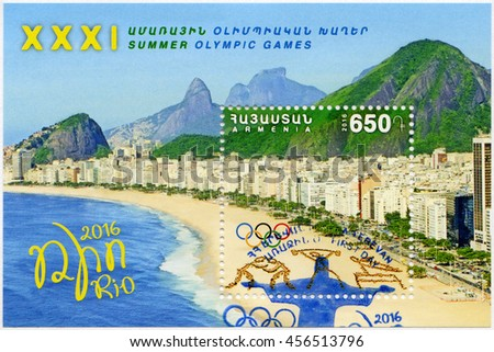 YEREVAN, ARMENIA - MAY 30, 2016: A stamp printed in Armenia shows Copacabana, Olympic Rings, 31th Olympic Games, Rio, Brazil - stock photo