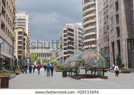 YEREVAN, ARMENIA-MAY 02:North Avenue in Yerevan on May 02, 2016. It`s pedestrian street in Yerevan. Many apartment houses, offices, shops and restaurants are located in this avenue