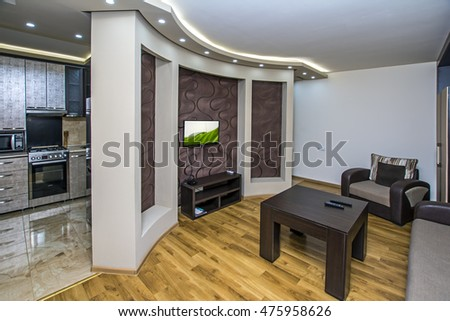 Yerevan, Armenia - September 02, 2015: A modern apartment living room. Luxury apartment with stylish modern interior design