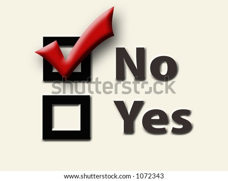 Yes and No Checkboxes with Red Checkmark in the No Box - Cream Background