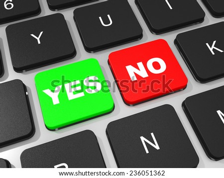 YES and NO key on keyboard of laptop computer. 3D illustration. - stock photo