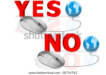 yes and no written in big red letters connected with mouse voting icon vote yes vote no