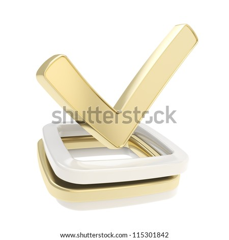 Yes check tick glossy golden emblem icon over chrome metal checkbox pile isolated on white background - stock photo