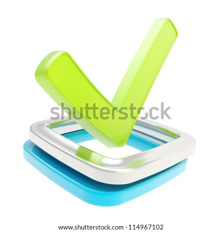 Yes check tick glossy green emblem icon over blue and chrome metal checkbox isolated on white background - stock photo