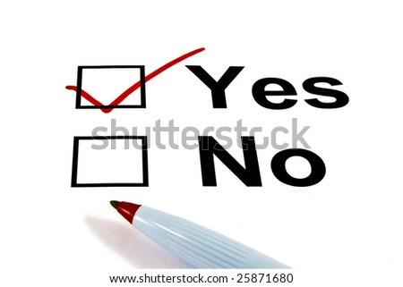 YES checkbox selected with red marker isolated on white - stock photo