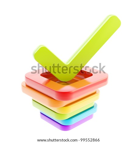Yes done green tick over stack of  glossy rainbow colored check boxes isolated on white - stock photo