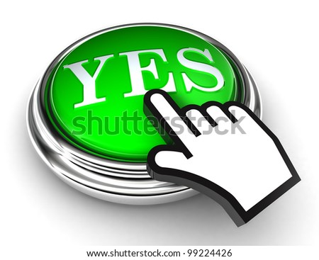 yes green button and cursor hand on white background. clipping paths included - stock photo