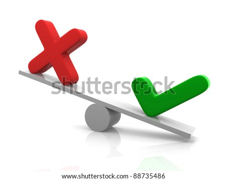 Yes - No balance. 3d render illustration - stock photo