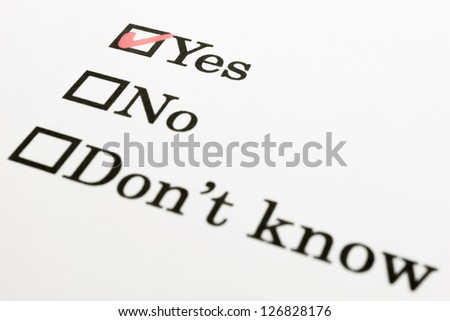 Yes No Don't know check boxes - stock photo
