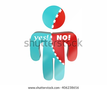 Yes No Person Words Undecided Voting Torn Words 3d - stock photo