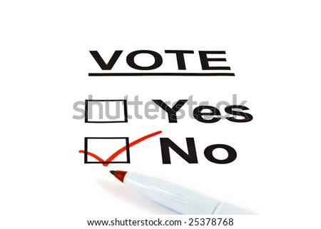 Yes / No Vote Ballot Form With NO Checked Isolated On White - stock photo