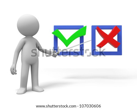 Yes or no /A man is explaining the right/wrong symbol - stock photo