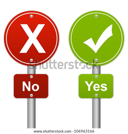Yes or No Glossy Road Sign Style Isolated on White Background - stock photo