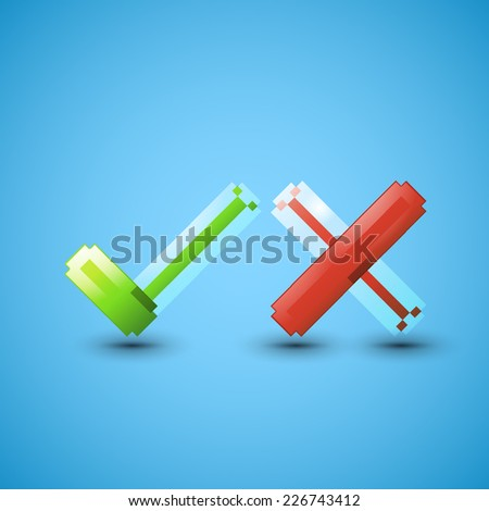 Yes or No icons, graphic design, stylish concept - stock photo