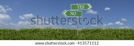 yes or no road signs on green grass - stock photo