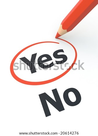 Yes outline by red pencil. See my portfolio for more similar images. - stock photo