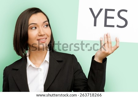 Yes. Positive - stock photo