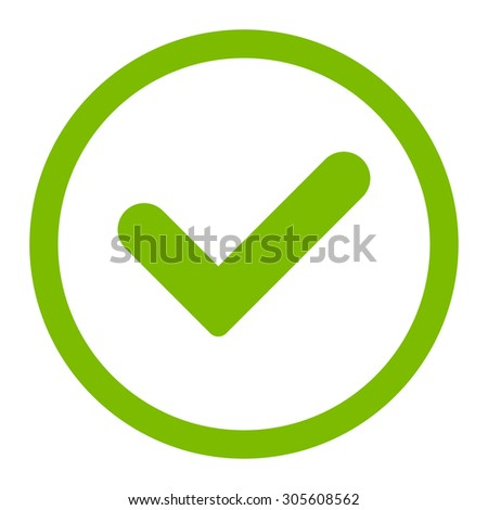 Yes raster icon. This rounded flat symbol is drawn with eco green color on a white background. - stock photo