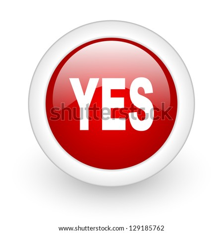 yes red circle glossy web icon on white background