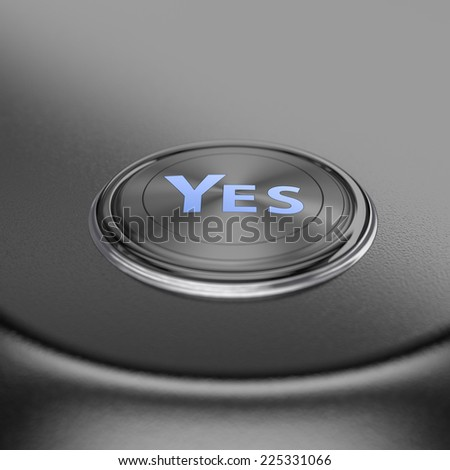 Yes text button with blur effect. Render image for business and motivation concepts. - stock photo