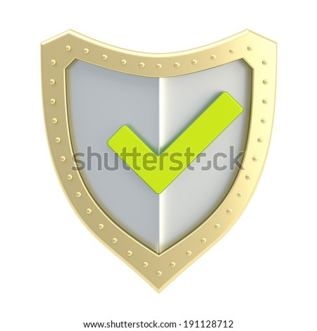 Yes tick green mark over a metal shield surface isolated over white background - stock photo