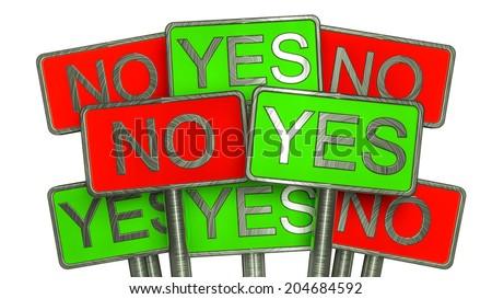 YES vs NO - stock photo