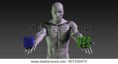 Yes vs No Concept of Choosing Between the Two Choices 3D Illustration Render - stock photo