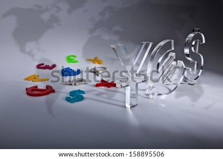 YES World economy map with colorful international icon on silver background - stock photo