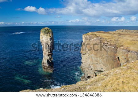 Yesnaby Sea Stack, Orkney - stock photo