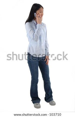 YFull body shot of a young Asian woman talking on a cell phone