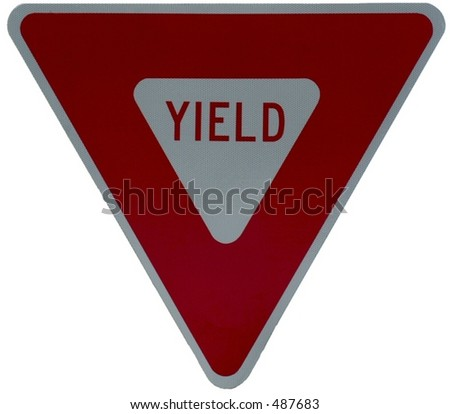 Yield sign isolated on white