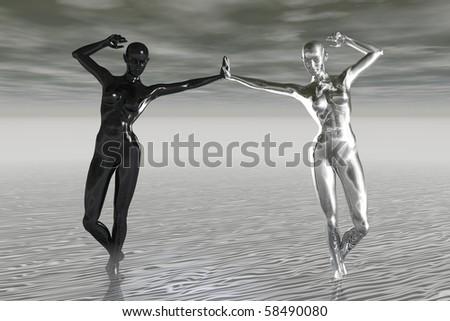 yin and yang (alternative image) - stock photo