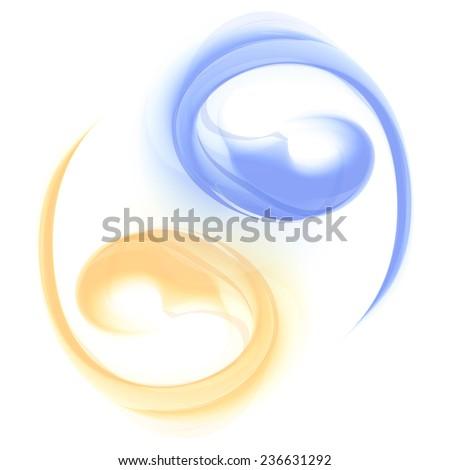 Yin and Yang Beautiful Abstract Sign Waves  - stock photo
