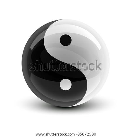 Yin and Yang symbol on a glossy ball - stock photo