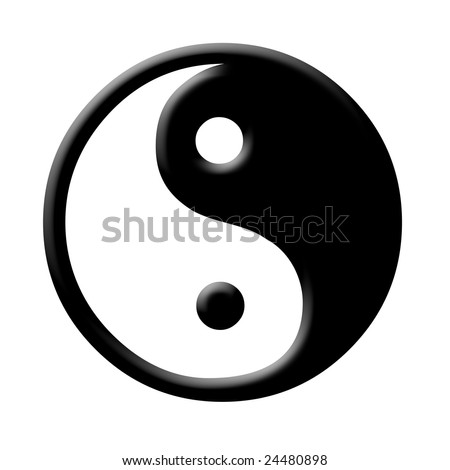 yin and yang symbol on white background. Illustration with inner bevel - stock photo