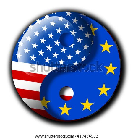 Yin and Yang with flags of United States and European union - Metaphor of TTIP - Transatlantic trade and investment partnership between USA and EU. Harmony and collaboration. White background  - stock photo