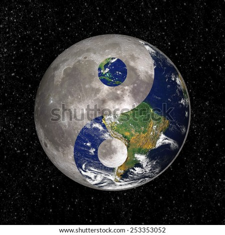 Yin Yang and tao symbol with earth and moon, elements of this image are provided by NASA - stock photo