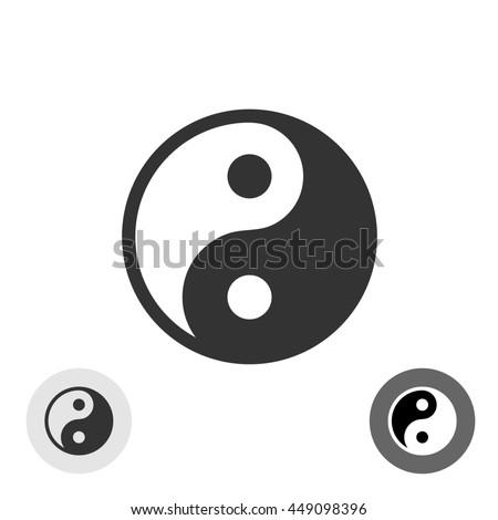 Yin-yang black round logo japan symbol - stock photo