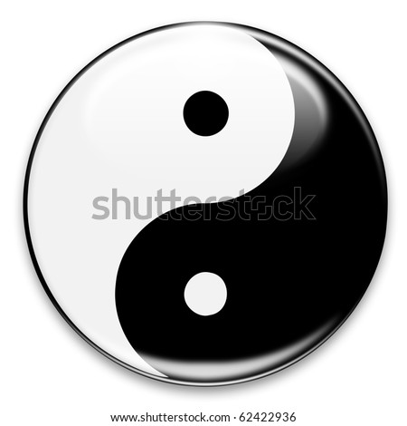Yin Yang Button - stock photo
