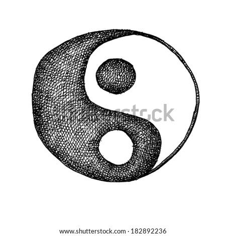 yin yang. hand drawn. jpeg version - stock photo