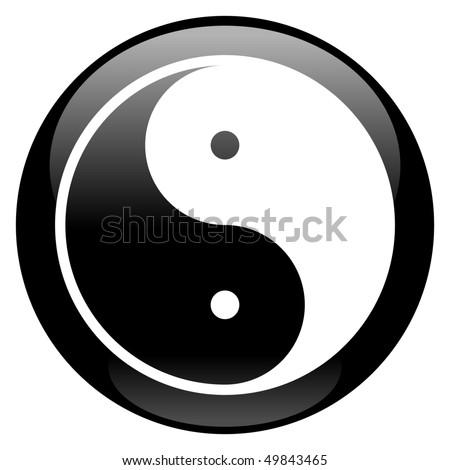 Yin-Yang Icon - stock photo