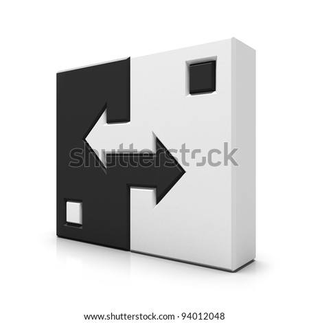 Yin yang similar square sign - stock photo