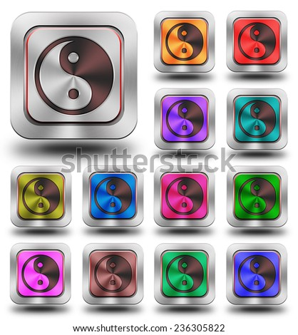 Yin Yang symbol aluminum, steel, chromium, glossy, icon, button, sign, icons, buttons, crazy colors
