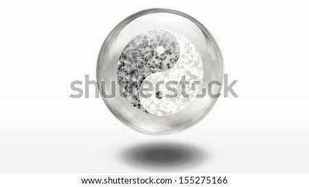 Yin Yang Symbol composed of stars - stock photo