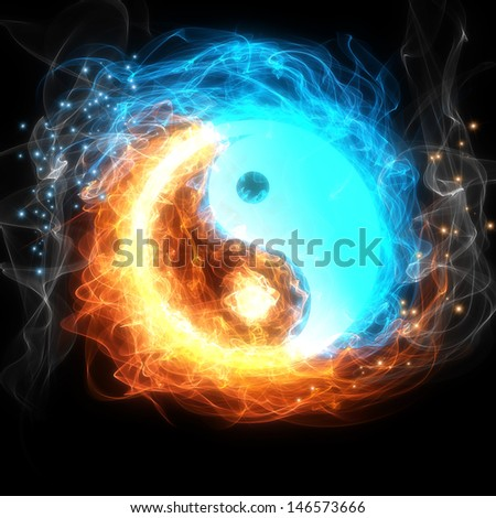 Yin-yang symbol, ice and fire - stock photo