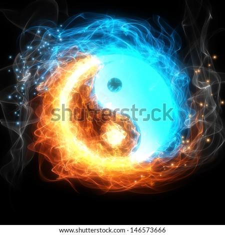 Yin-yang symbol, ice and fire - stock photo