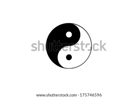 Yin yang symbol isolated on white background. - stock photo